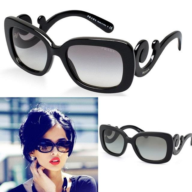 1 عینک زنانه پرادا لیدیس فریم مشکی و طلایی Prada ladies