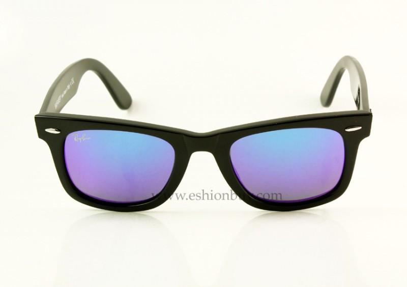 33 عینک ویفری شیشه آبی فریم مشکی rayban rb wayfarer