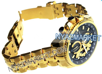 ساعت مچی کاسیو EF-558 طلایی صفحه زمینه مشکی