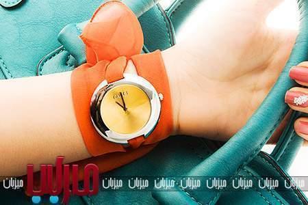 ساعت مچی گوچی دستبندی زنانه حریر رنگ نارنجی و صورتی