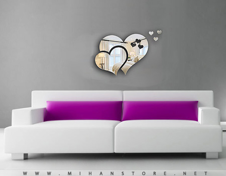 آینه دکوری دیواری  طرح قلب و عشق