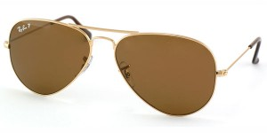 عینك ری-بن شیشه قهوه ای فرم طلایی original