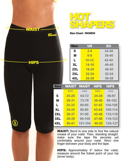 hot shapers kpwoman size chart sm تاپ لاغری هات شیپر با هدیه