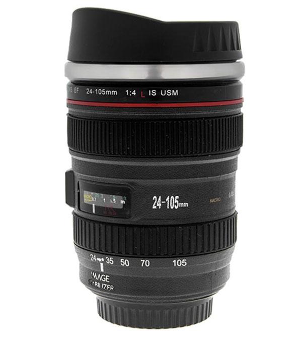 lens travel mug لیوان همزن با طرح لنز دوربین
