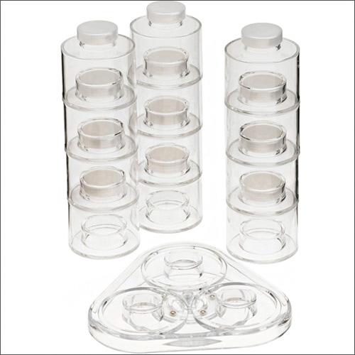 جا ادویه ای شیک شیشه ای طرح برج با 12 مخزن ادویه جات