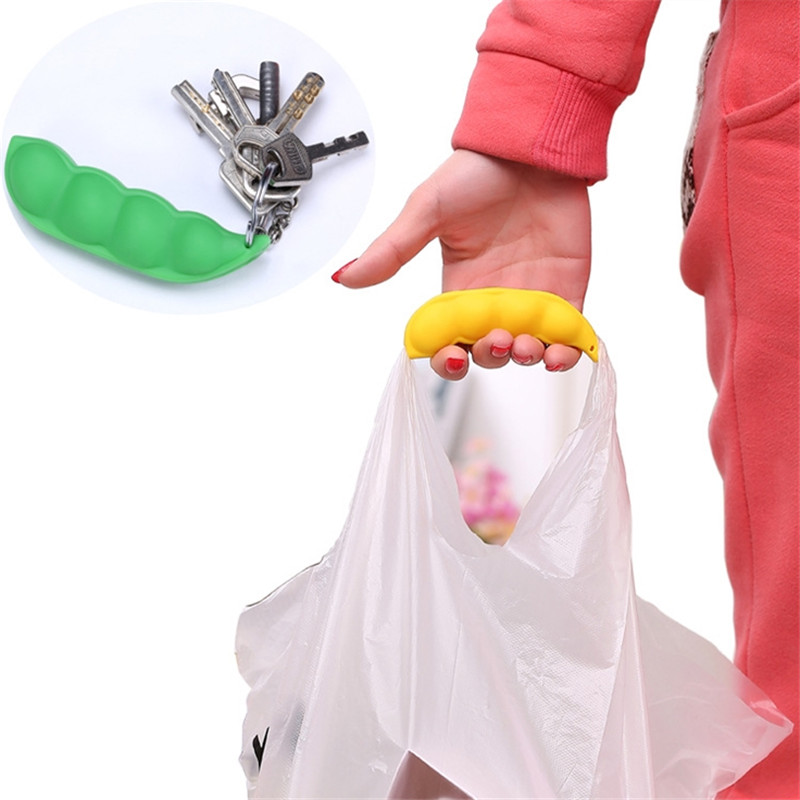 1pc Silicone Pea-shaped Bag Holder Clip Hanger Portable key Chain Bag Device Bag Filter Hand Shopping Bag Carry Tool GI872553