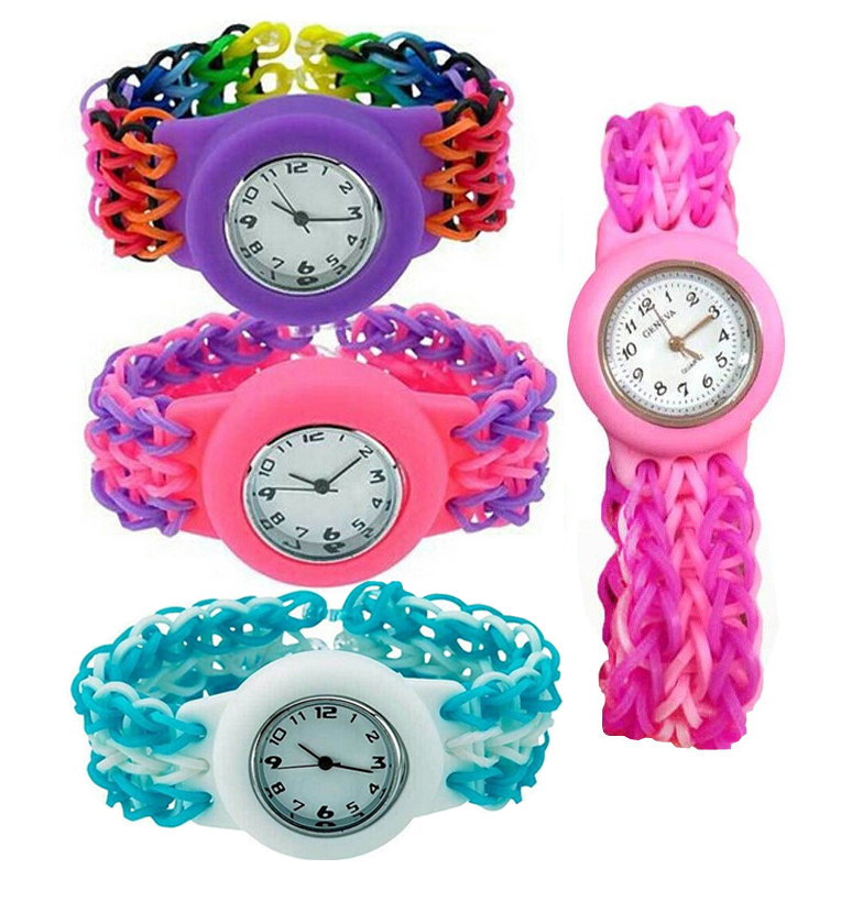 2015-Multicolor-Round-Watch-Kit-Lgoom-Rubber-Bands-with-Hooks-S-Clips-DIY-Weaving-Bands-Watch