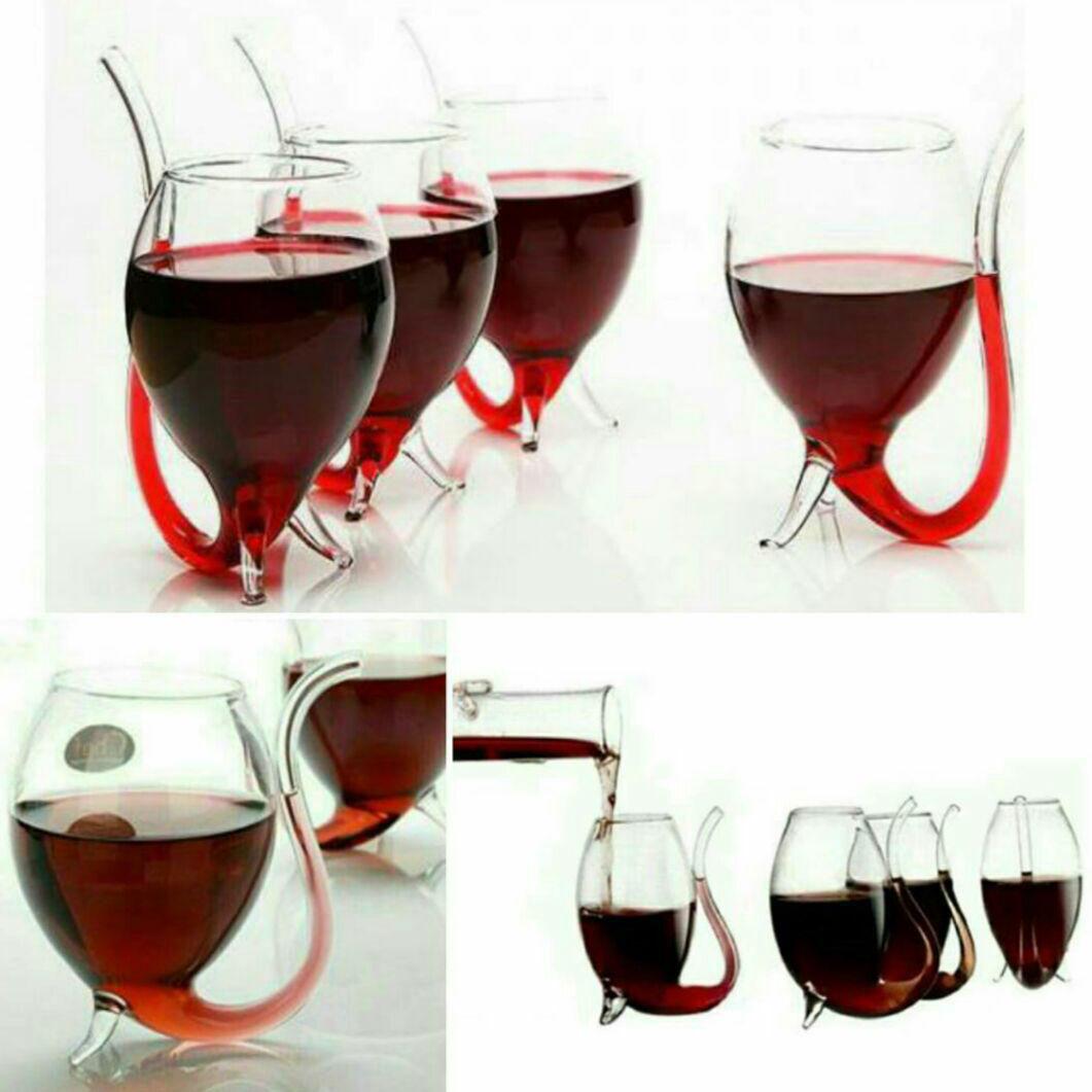 ست 6تایی لیوان فانتزی نی دار ورلد گلاس World Glass