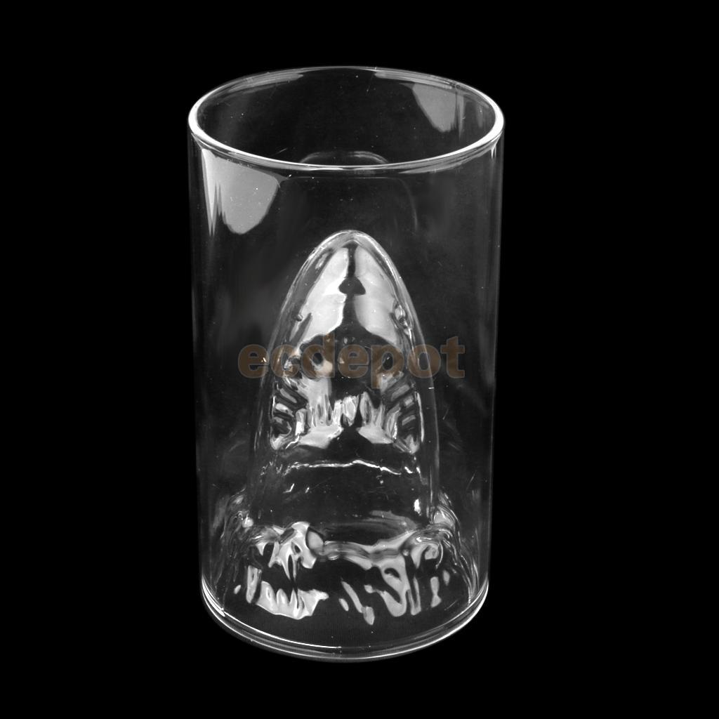 لیوان شیشه ای فانتزی طرح کوسه دو جداره