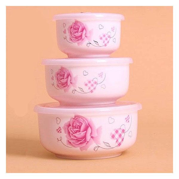 ظرف سرامیکی 3 تایی سوپاپ دار مخصوص نگهداری غذا
