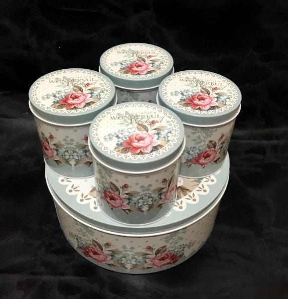 خرید جعبه فلزی 5 تکه برای شکلات و چای و شیرینی