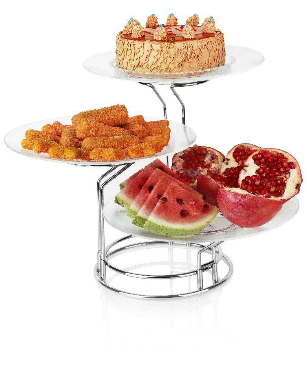 دیس پایه دار میوه و شیرینی سه تایی