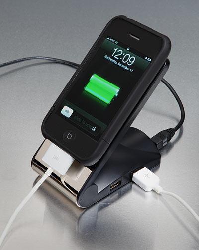 خرید نگهدارنده غیر لغزش موبایل با هاب شارژر 4 پورت USB