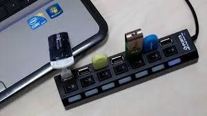 هاب یو اس بی هفت پورت همراه با کلید لپ تاپ و کامپیوتر