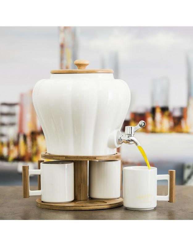 خرید مجموعه سرامیکی 4 فنجان با ظرف آب و پایه بامبو 5 لیتری