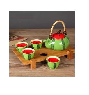 سرویس قوری و فنجان سرامیکی هندوانه( ویژه شب یلدا)