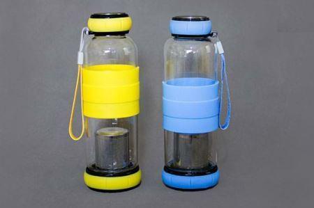 خرید پستی  فلاسک شیشه ای دم نوش سیلیکونی
