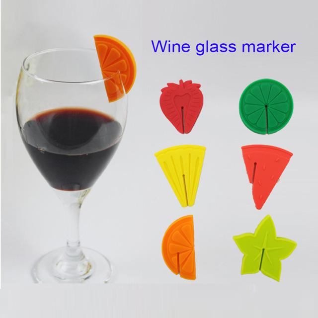 نشانگر 6تایی سیلیکونی لیوان و گیلاس طرح میوه