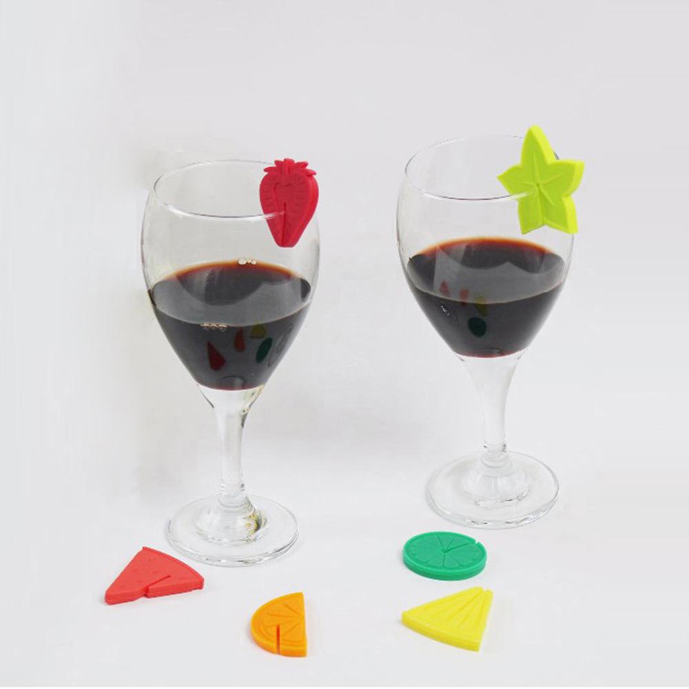 خرید پستی  نشانگر 6 عددی سیلیکونی لیوان طرح میوه