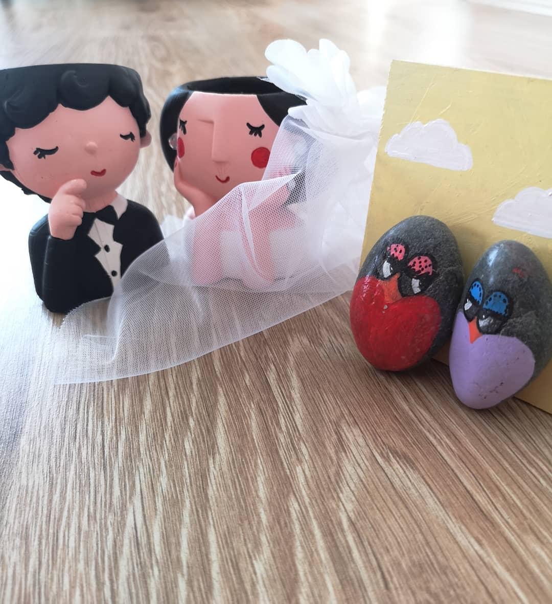 خرید پستی  گلدان دو عددی طرح عروس و داماد