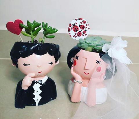 گلدان دو عددی طرح عروس و داماد