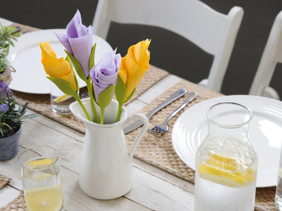 خرید پکیج 4تایی نگهدارنده دستمال سفره bloom طرح ساقه گل