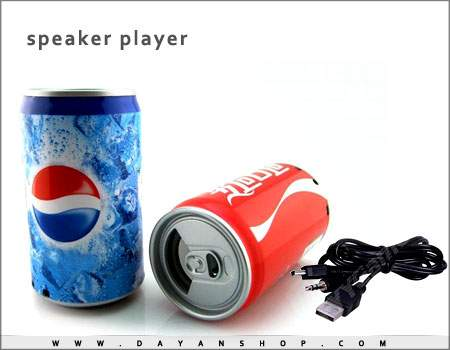 اسپیکر پلیر با اتصال مموری و USB طرح قوطی نوشابه ای