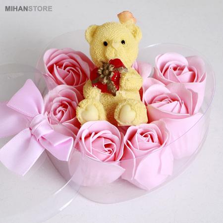 خرید پستی  پکیج کادویی خرس و گل عطری طرح Romantic