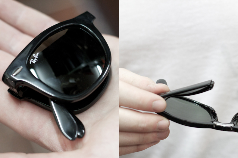 خرید عینک ریبن ویفری تاشو فریم مشکی و قهوه ای